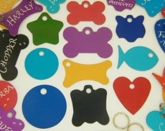 Hand Engraved - Buy 2 Tags get 3rd Tag FREE - Pet Dog or Cat ID Tags - 10 Great Shapes 7 Great Colors Available -