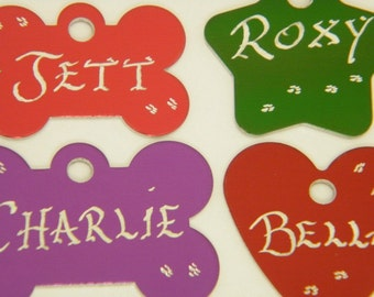 HandEngraved -Buy 2 / 3rd FREE - Pet Dog or Cat ID Tags - 10 Great Shapes 7 Great Colors Available -