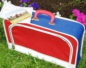Vintage 60s Red White Blue Nautical Vinyl Suitcase Luggage Patriotic Briefcase Bag