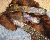 Vintage 80s French Brass & Leather Glitter Chain Metal Mesh Belt