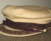 Vintage 60s Khaki Cotton Greek Fisherman Hat Nautical Cap