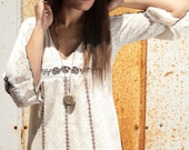 Vintage 60s Embroidered Lace Hippie Prairie Boho Babydoll Dress
