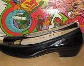 Vintage 60s Black FERRAGAMO Patent Leather Mary Jane Shoes Gold Buckle