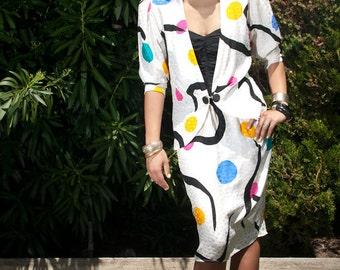 Vintage 80s Silk Polka Dot Tube Dress Set with Matching Jacket