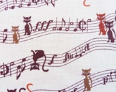 Musical Cats - cute Japanese fabric - fat quarter