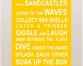 Beach Rules - Bus Roll Wall Art Poster - Large A1 Size