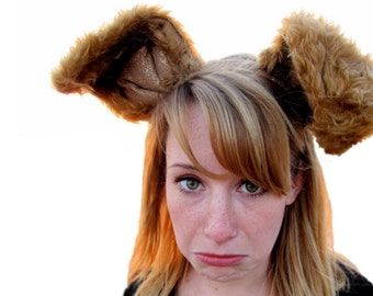 Deluxe ears headband - long brown bunny ears or other woodland creature ears