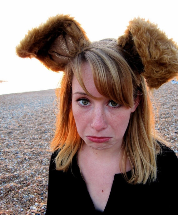 Deluxe ears headband - long brown bunny ears or other woodland creature ears - FREE SHIPPING