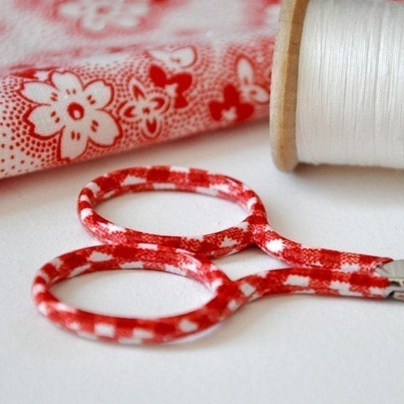 Embroidery Scissors with Red and White Gingham Handles