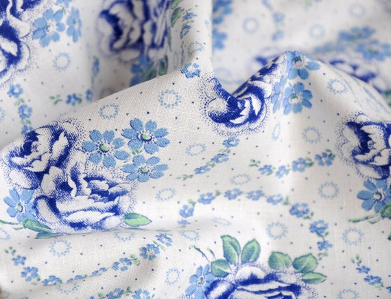 vintage french floral fabric - 1930s roses