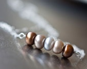 Multicolored Pearls Sterling Silver Necklace - 3 Chocolate