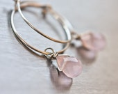 Hoops Earrings Pastel Pink Chalcedony Argentium Sterling silver tbteam sweet romantic
