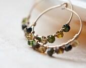 Hoop Earrings Tourmaline 14K Gold Filled wire wrapped