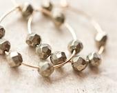 Gold Pyrite Hoops Earrings Simple earrings 14K Gold Filled Urban Gray modern jewelry
