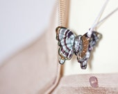 Lampwork Glass Butterfly Long Necklace Pendant Artisan Multicolor black gold silver chocolate romantic style