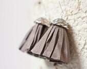 Tassel Earrings Brown Taupe Suede Fringe Silver driftwood boho bohemian tribal rusteam
