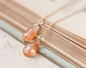 Long Dangle Earrings Sunstone 14k Gold Chain Orange Peach Luxury Bridal Wedding Fashion pastel