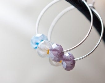 Hoop Earrings Pastel Millifiori Argentium Sterling silver modern simple jewelry