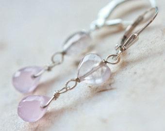 Earrings Heart Shape Pink Quartz Chalcedony Teardrop Sterlings Silver heart jewelry romantic gift pastel