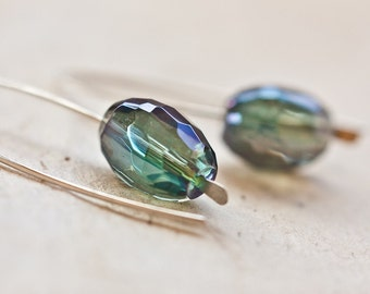 Modern Hook Earrings Deep Lichen Green Mystic Quartz Argentium Sterling silver Emerald Minimalist Jewelry minimal chic