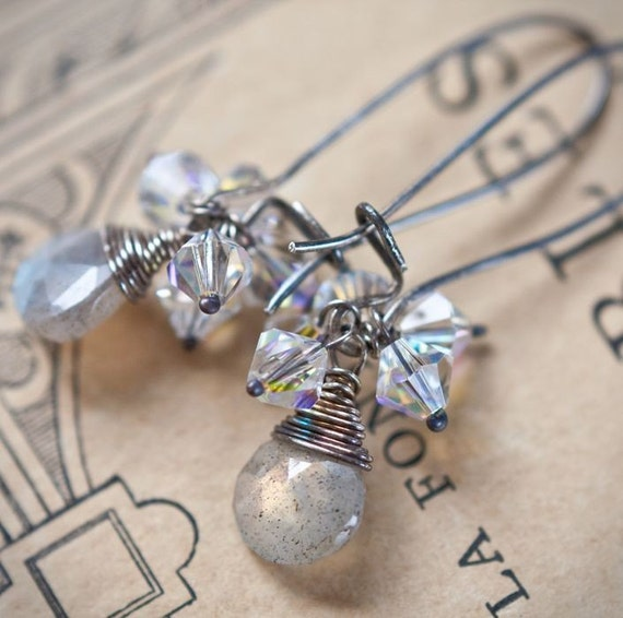 Dangle Earrings Labradorite Sterling Silver Gray Blue wire wrapped vintage style neutral tbteam rusteam