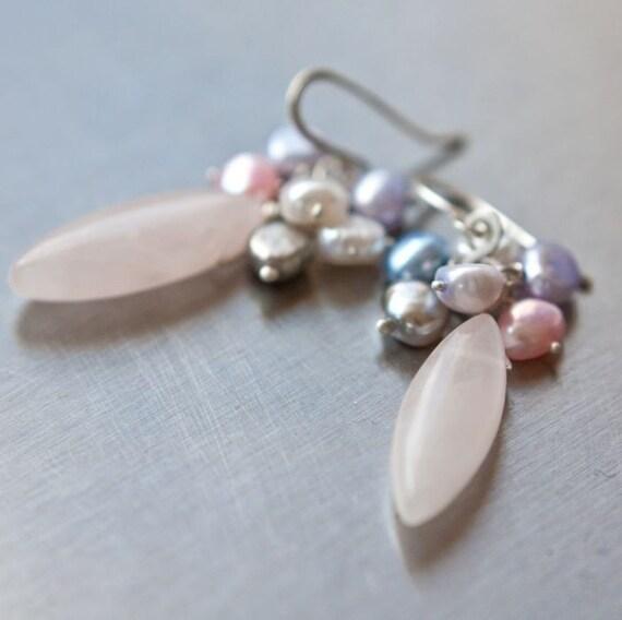 Argentium Sterling Silver Earrings Pearls Pastel Pink Quartz romantic tbteam rusteam