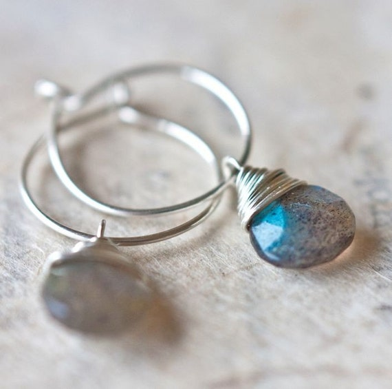 Hoops Earrings Argentium Sterling Silver Labradorite Wire Wrapped Urban Gray Blue neutral