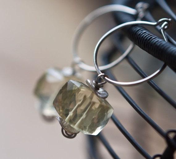 Hoops Earrings Argentium Sterling Silver Lemon Quartz Cube Dangle tbteam