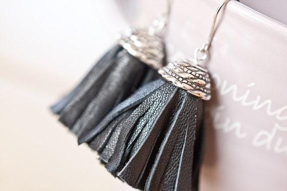 Tassel Leather Earrings Black Gothic Fringe Silver punk rock long sexy dangly glam rock rusteam
