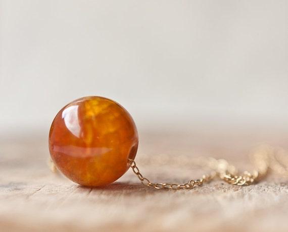 Orange Fire Agate Pendant Necklace 14K Gold filled Round Dragon Vein Ginger Natural Organic Simple Modern Minimalist Design