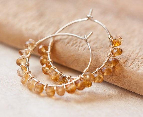 Hoop Earrings Citrine 14K Gold Filled wire wrapped fashion tbteam amber honey rustic woodland