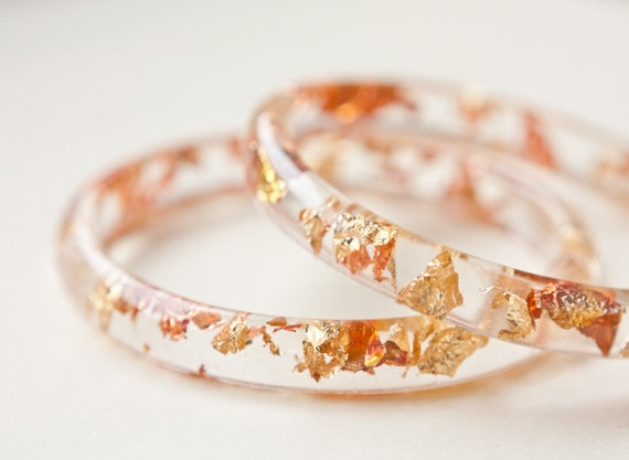 Resin Bangle Bracelet Gold Flakes Small Cuff OOAK tbteam glam fall fashion free shipping