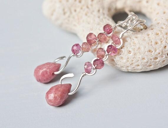 Long Dangle Earrings - Tourmaline Rhodochrosite Sterling silver pastel pink ooak sea beach tbteam