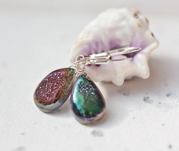 Druzy Earrings Sterling Silver Heart Briolette Titanium Sparkling Peacock Drusy Modern minimalist purple emerald multicolor tbteam