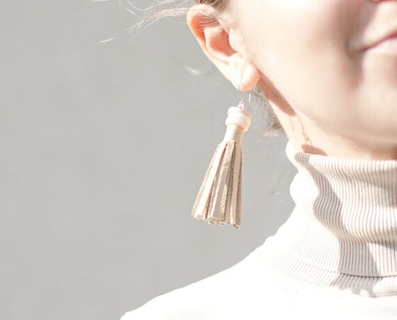 Long Tassel Leather Earrings Boho Tribal Beige Fringe bohemian fall pastel rusteam