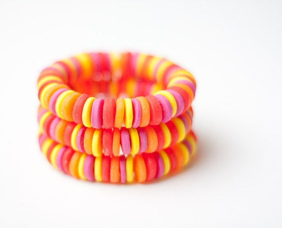 Bracelet Bright Colorful Neon Red Hot Pink Tangerine Orange Yellow Cuff tbteam geometric fall fashion free shipping