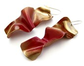 SALE - RED GOLD HOT WAVES. Earrings