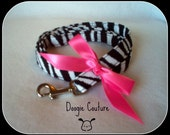 Zebra Dog Leash With Pink Bow 5'