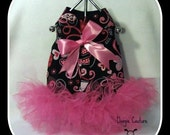 I Love You Dog Tutu Harness Dress with Hot Pink Bow Size XXS