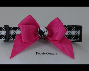NEW Limited Edition Houndstooth Pink Bow Dog Collar Size XS Through Large by Doogie Couture