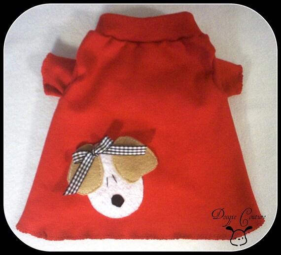 Red Puppy Dog TShirt Clothes Size XXXS through Medium by Doogie Couture