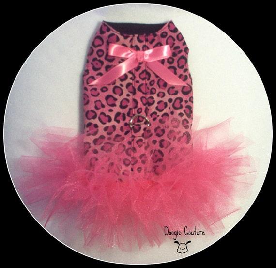 New Pink Leopard Dog Tutu Harness Dress with Hot Pink Bow Size XXSmall