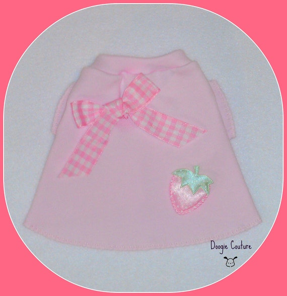 Pretty Pink Strawberry Dog Shirt Size XXS by Doogie Couture