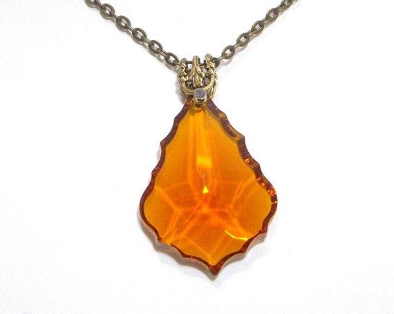Necklace,Victorian, Burnt Orange Baroque Crystal N460