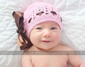 Baby Girl Newborn Knit Hat with Hair Bow -U pick bow size- Custom made