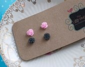 Little Flower Earring Post set Pink and Black