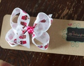 Cutie Cup Cakes in Pink Small boutique Folded Hair Bow Clip