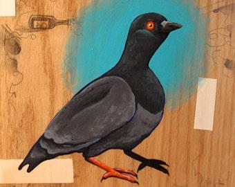 "5x5"" signed Pigeon Print"