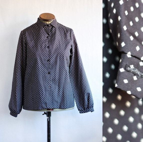 vintage Black and White diamond print blouse M L