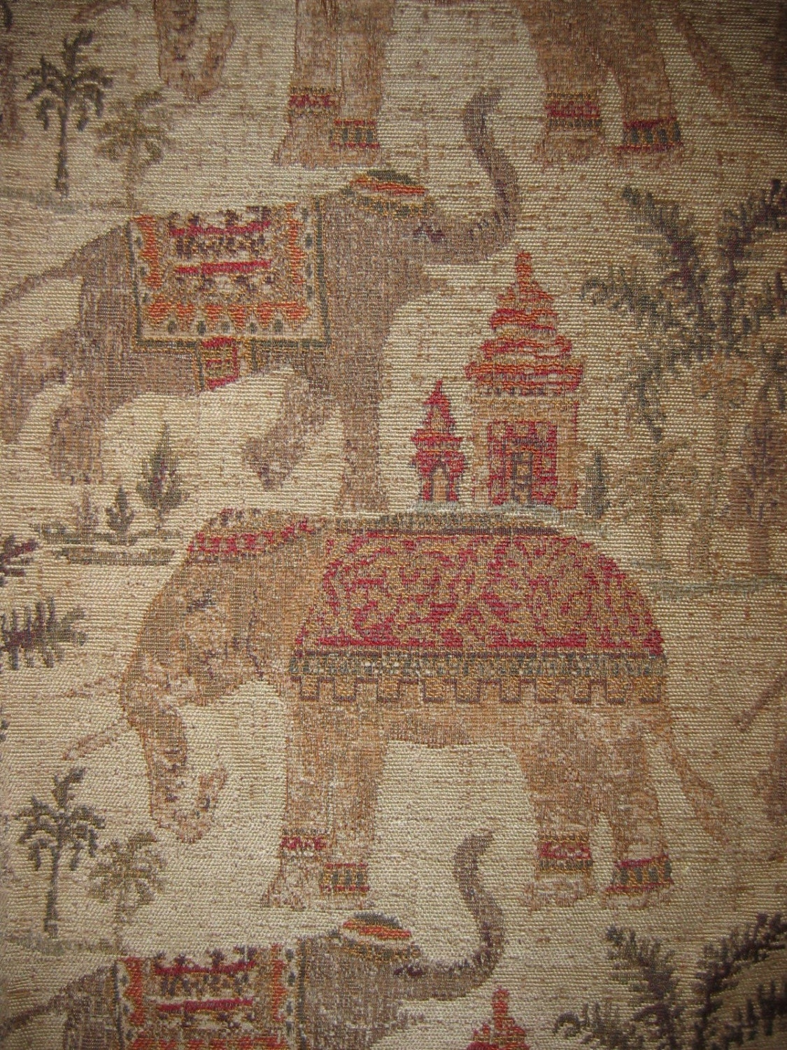 Woven Upholstery Fabric Dancing Elephants Chenille 1yd By
